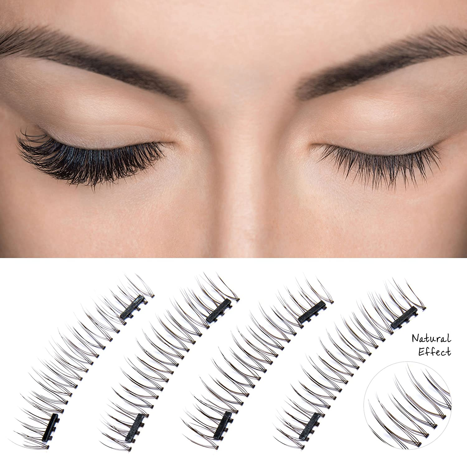 Amazon.com : Magnetic Eyelashes Dual Magnet Glue-free 3D Reusable Full Size Premium Quality Natural False Lashes - 2018 : Beauty