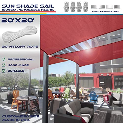 Windscreen4less 20 x 20 Sun Shade Sail UV Block Fabric Canopy in Ruby Red Square for Patio Garden Customized Size 3 Year Limited Warranty