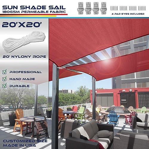 Windscreen4less 20 x 20 Sun Shade Sail UV Block Fabric Canopy