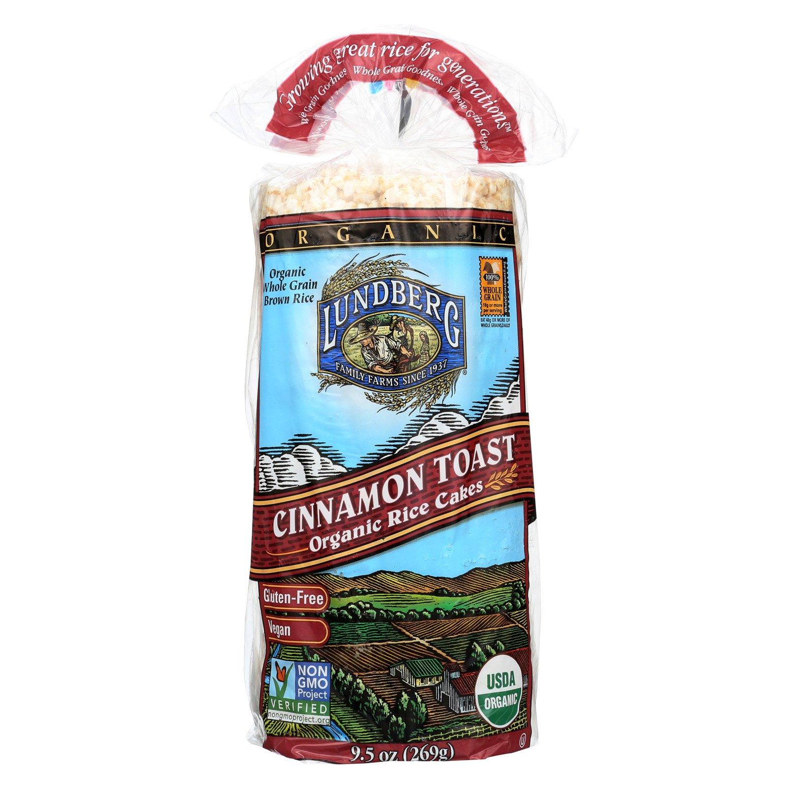 Lundberg Family Farms Organic Rice Cakes - Cinnamon Toast - Case of 12 - 9.5 oz.