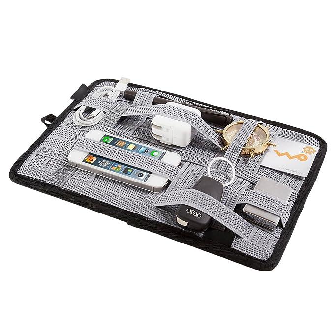 b0401f2beb20 LZVTO Elastic Organizer Board Electronic Accessories Travel Organizer  Bag,10.63 x 7.48 Inches (Zipper, Grey)