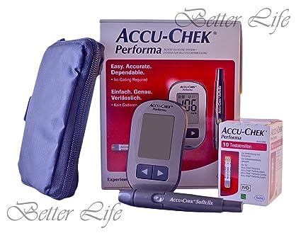 Accu Comprobar Performa Kit Diabetes Test Cómo Azúcar en Sangre Monitor Accu Chek Akku