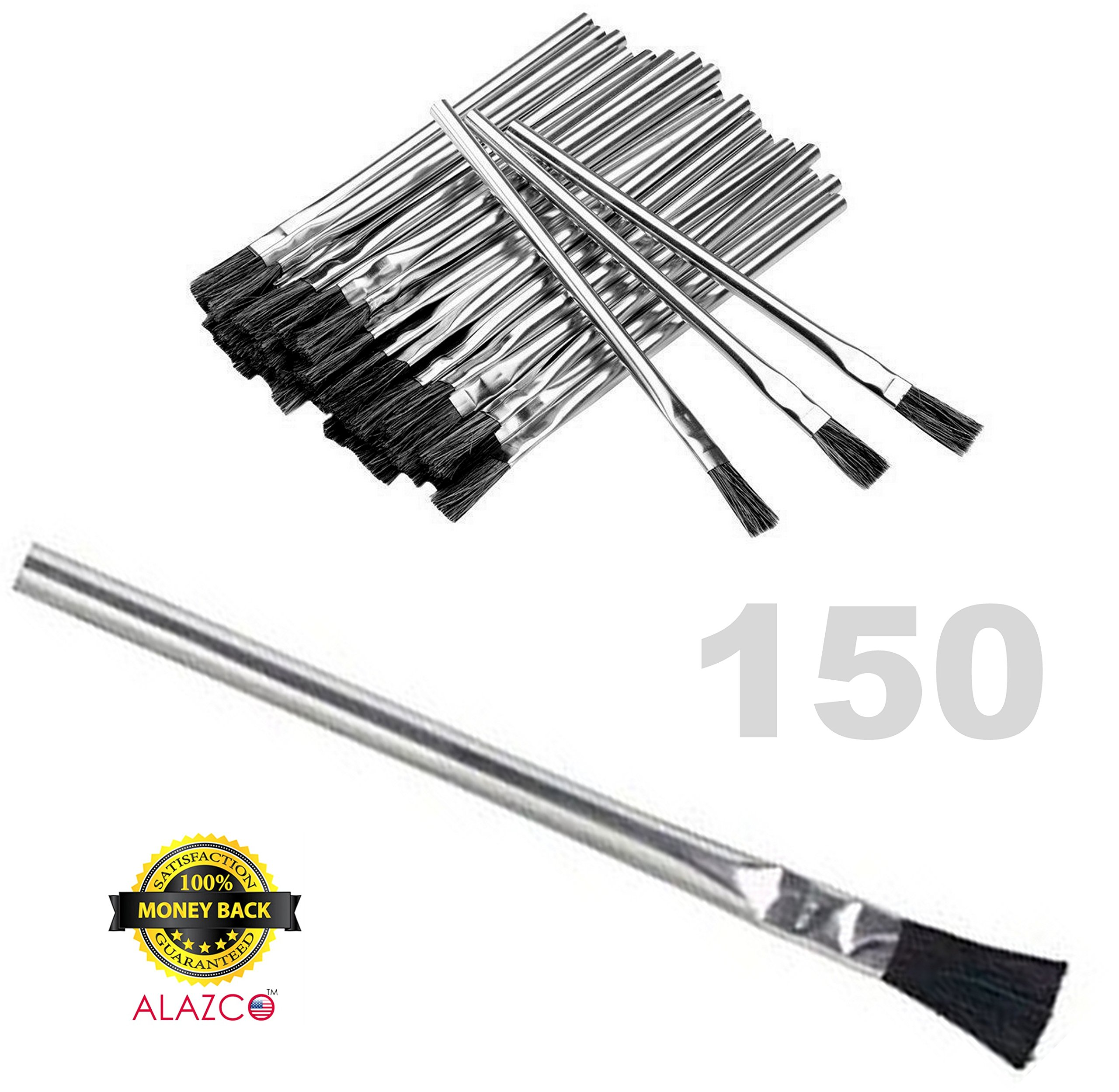 150pc ALAZCO 6'' Long 3/8'' Acid Brushes Natural Flexible Horsehair Bristles - Tin (Metal) Tubular Handles & Ferrules Home School Work Shop Garage