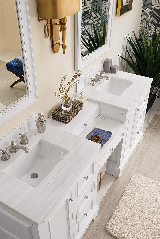 Amazon Com De Soto 82 Double Vanity Set Bright White With Makeup Table 3 Cm Classic White Quartz Top Home Kitchen