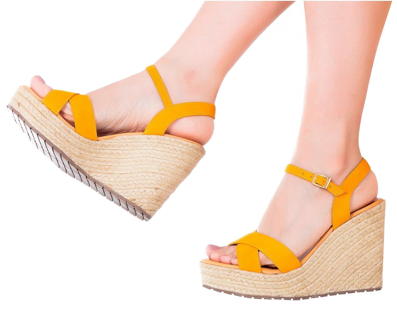Vida Leather Women Ankle Tie Platform Espadrille Sandals | Sandalias de DAMA B0755N6PF2 6 B(M) US|Yellow