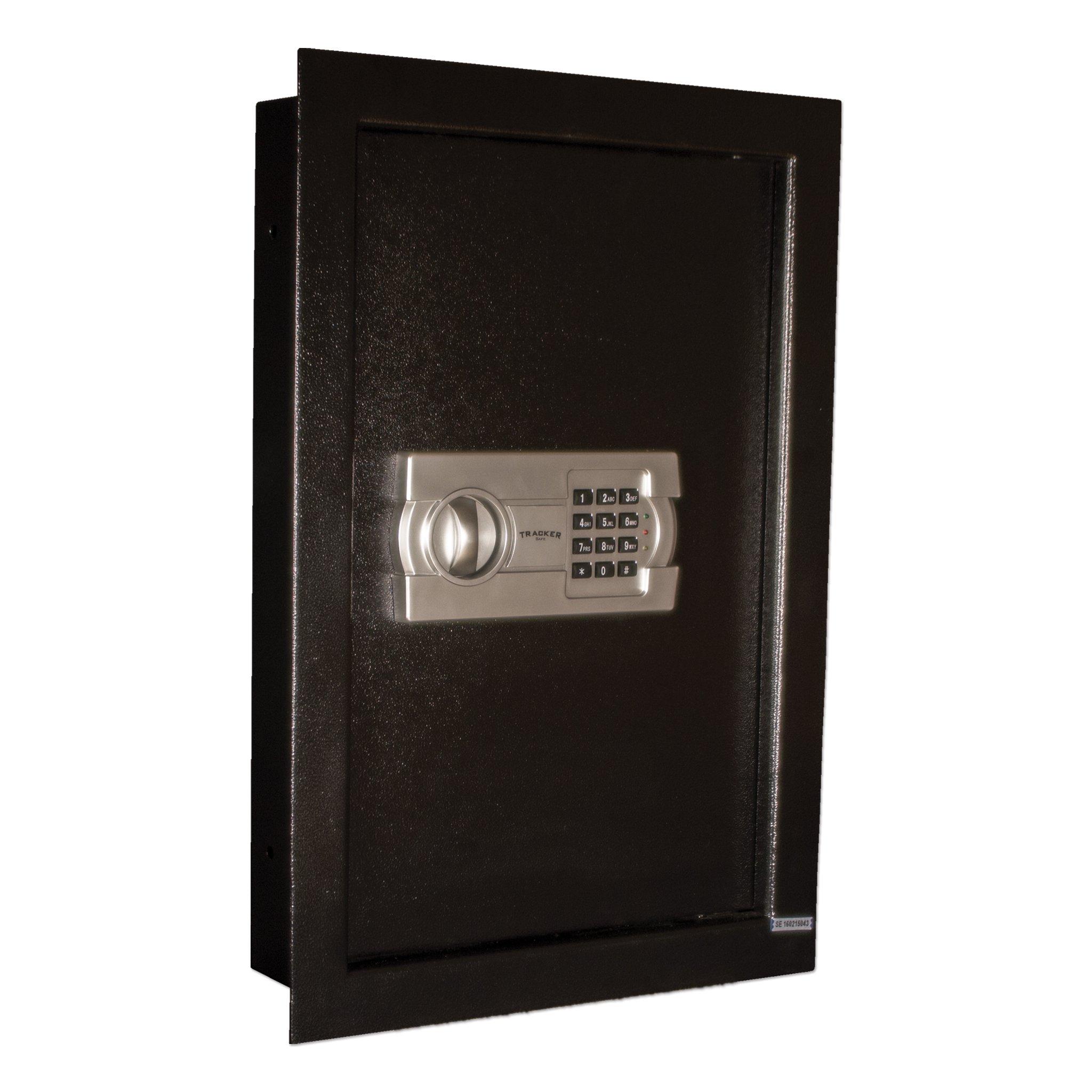 Tracker Safe WS211404-E Steel Wall Safe, Electronic Lock, Black Powder Coat Paint, 0.60 cu. ft. by Tracker Safe
