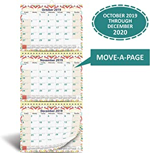 3-Month Wall Calendar 2020 by StriveZen, Move-a-Page, 11 x 26 Inches, 39 Sheets, Large, Vertical, Wire Bound, October 2019 - December 2020, Folds Like a Notebook, Big Numbers, Large Daily Block