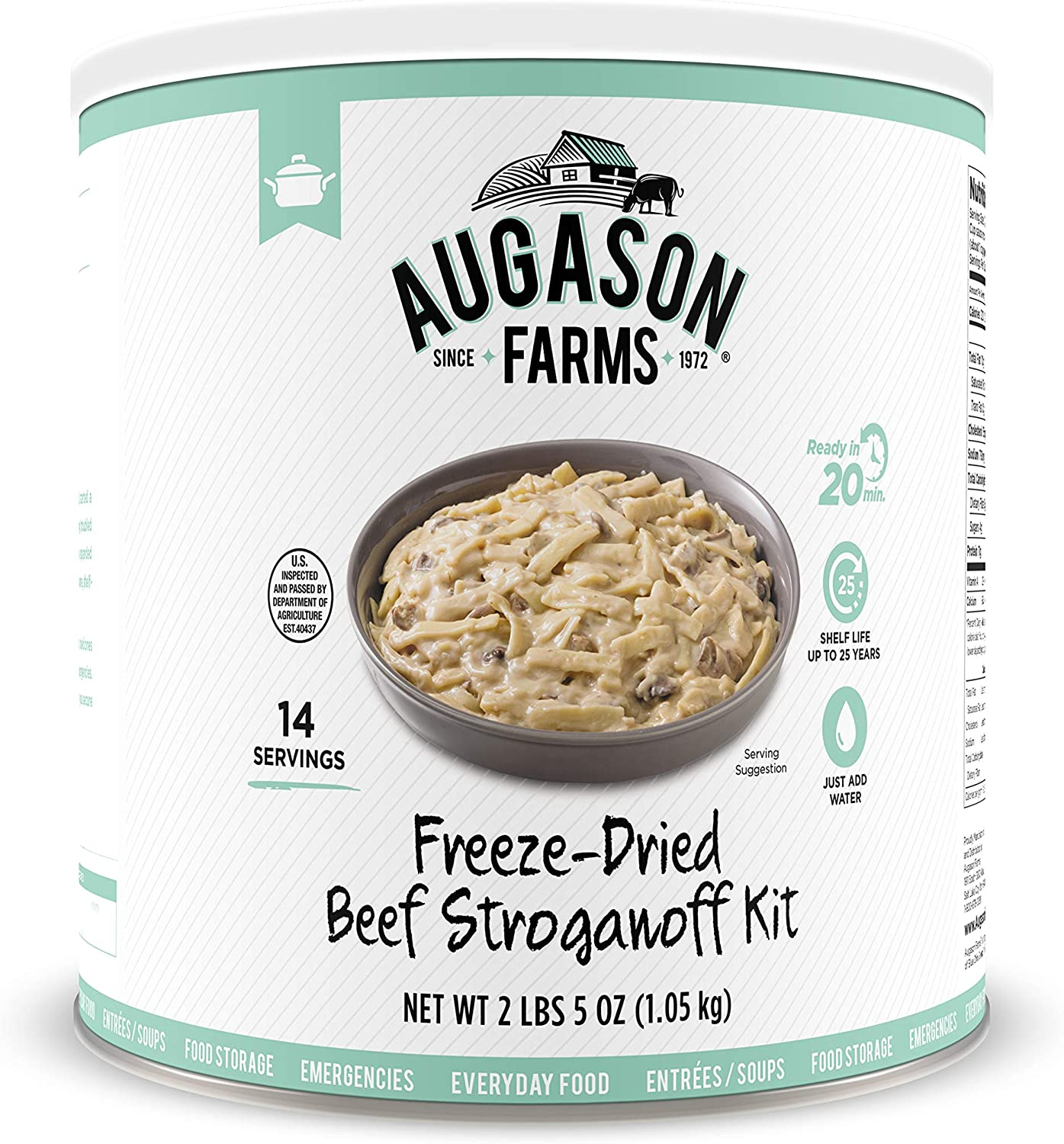 Augason Farms Beef Stroganoff with 100% Real Freeze-Dried Beef Emergency Food Storage Large Can