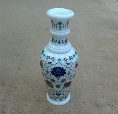 12 Height White Marble Flower Vase Lapis Lazuli Stones Inlay Floral