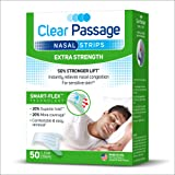 Clear Passage Nasal Strips Extra Strength, Clear, 50 ct | Works Instantly to Improve Sleep, Reduce Snoring, Relieve Nasal Congestion Due to Colds & Allergies (Extra Strength)