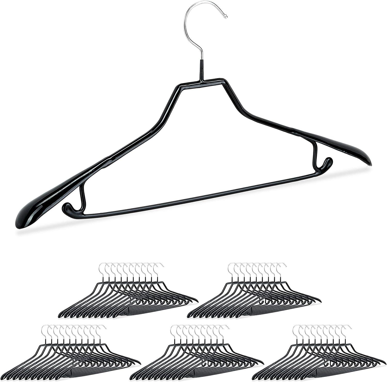 45 cm Negro Metal y PVC Relaxdays Pack de 50 Perchas Ropa Antideslizantes para Trajes con Barra