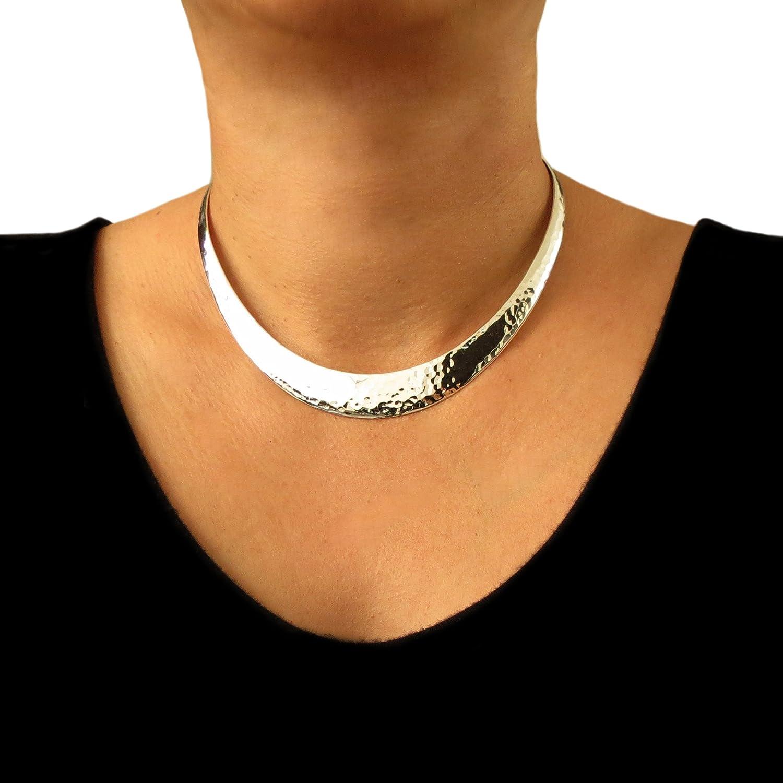 Große massiv 925 Sterling Silber gehämmert Halsreif: Amazon.de: Schmuck