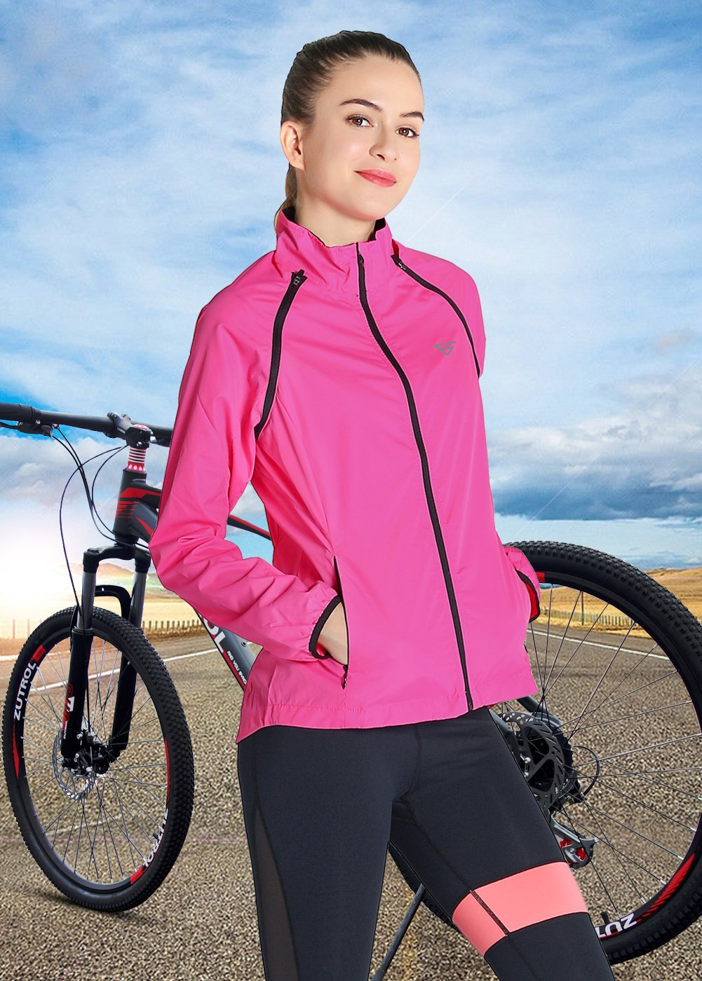 Fastorm Convertible Cycling Jacket Women's Windproof Lightweight Running Outdoor Sportwear Water Resistant (Rose Red, 2XL)