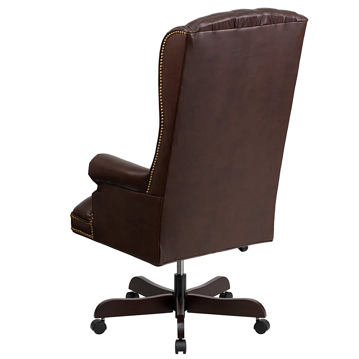 Flash Furniture High Back Traditional Tufted Brown Leather Executive Swivel Chair with Arms