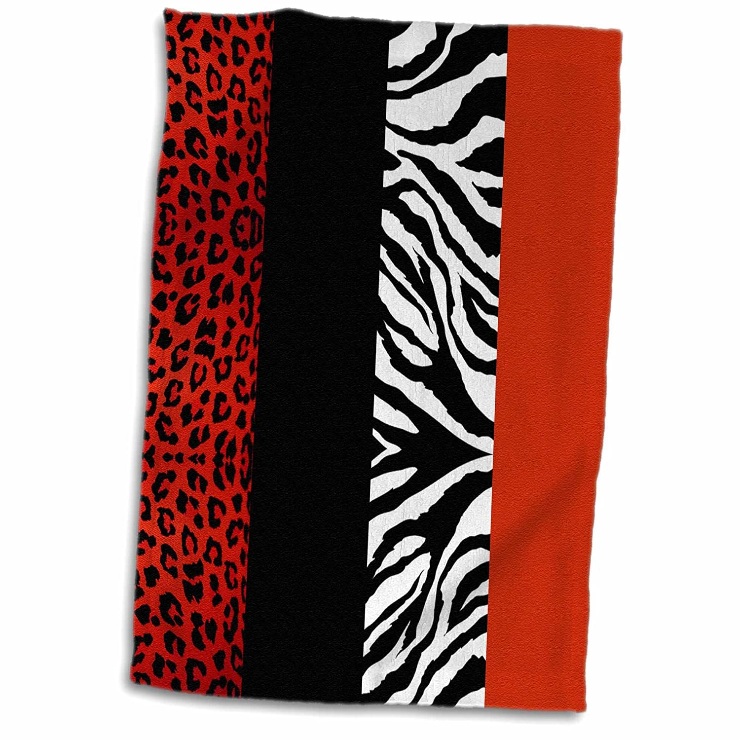 "3D Rose Red - Black - Orange and White Animal Print - Leopard and Zebra TWL_35438_1 Towel 15"" x 22"""