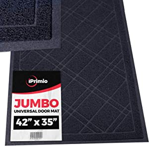 "SlipToGrip Jumbo Door Mat Indoor / Outdoor 42""x35"" Black Duraloop"