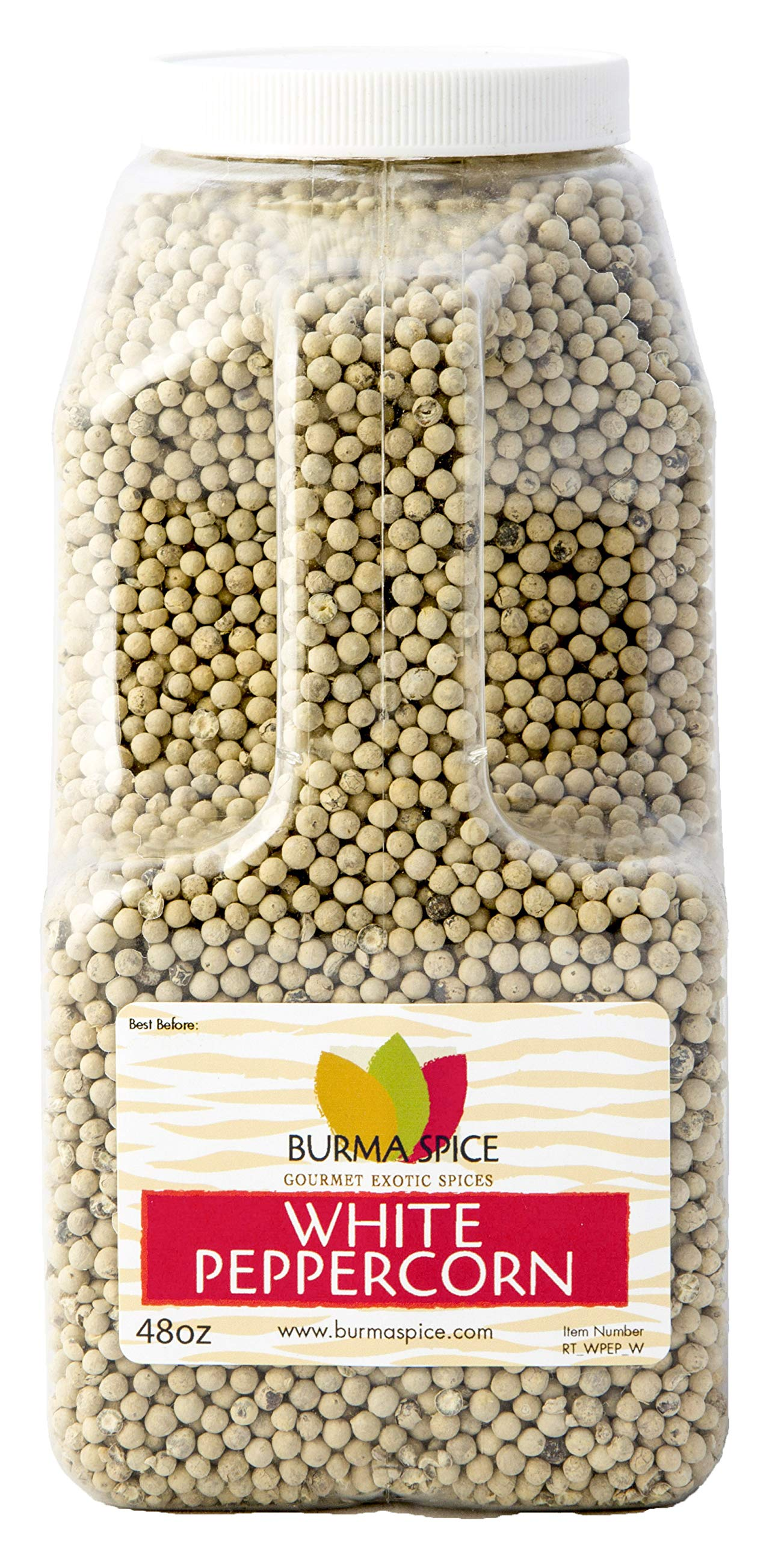 White Peppercorn : Whole : from the berry of the pepper plant, Piper Nigrum Kosher (48oz.)
