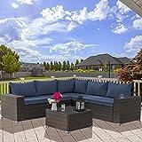 Kullavik Outdoor Patio Furniture Set 6 Pieces Sectional Rattan Sofa Set Brown PE Rattan Wicker Patio Conversation Set with 5