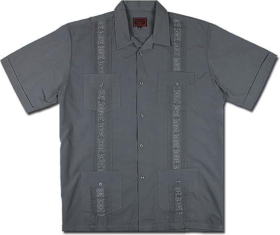 WCFS New Guayabera - Camisa de estilo cubano para hombre, color gris oscuro - Gris - Small: Amazon.es: Ropa y accesorios