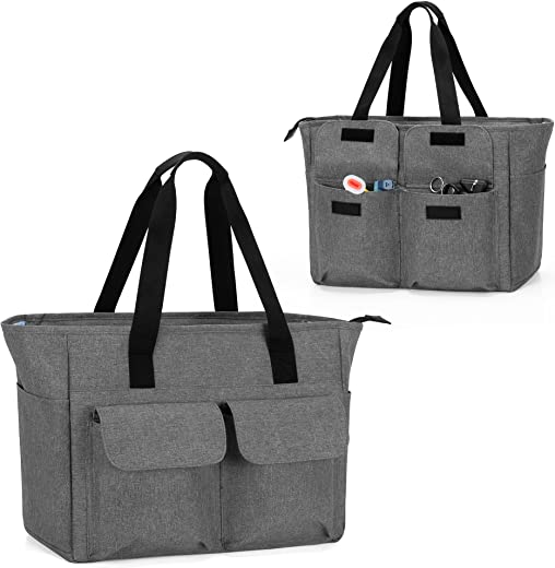 CURMIO Medical Tote Bag, Portable Nurse Bag for Work with Padded Laptop Sleeve and Multiple Pockets for Nursing Students, Doctors, Gray