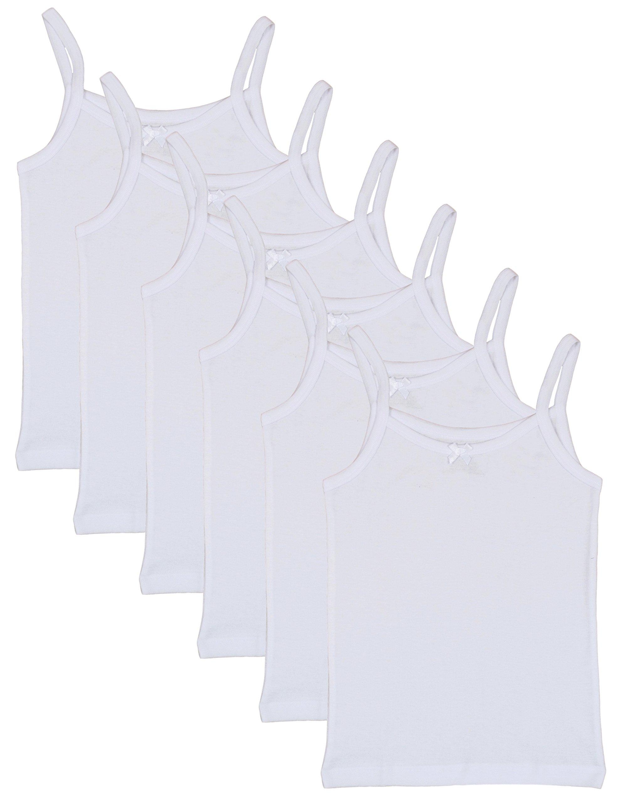 'Rene Rofe Girls Undershirt Camisole Tank Tops, White, X-Small / 4-5 (Pack of 6)'