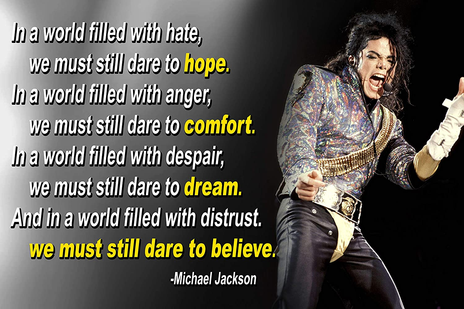 Michael Jackson Poster Quote Black History Month Classroom Décor MJ King of  Pop Quotes Wall Art Posters Memorabilia Decorations Birthday Gifts ...