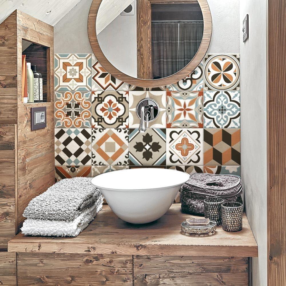 Pegatinas de azulejos de vinilo para ba/ño y cocina Fabricado en Italia Paquete de 12 unidades de 15 x 15 cm PS00160