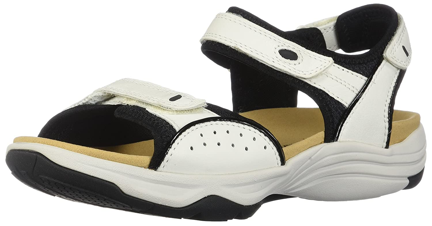 CLARKS Women's Wave Grip Sandal B0762SYQY7 6 D US|White Leather 2