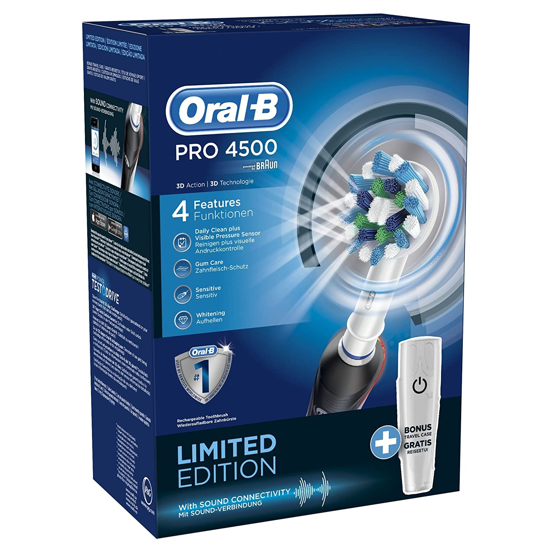 Oral B TriZone 4500 - Cepillo de dientes eléctrico de rotación, color negro: Amazon.es: Salud y cuidado personal