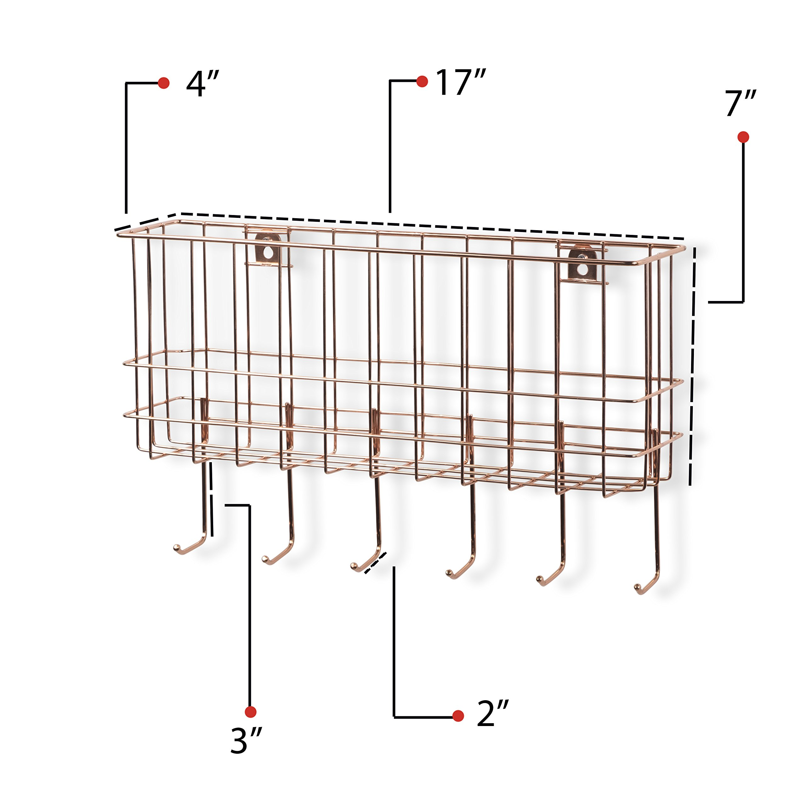 WALL35 Sicily Unique Metal Wire Basket - Wall Mounted Entryway Organizer - Key Holder - Coat Rack with Hooks - Mail and Magazine Holder (Copper) by Wall35 (Image #3)
