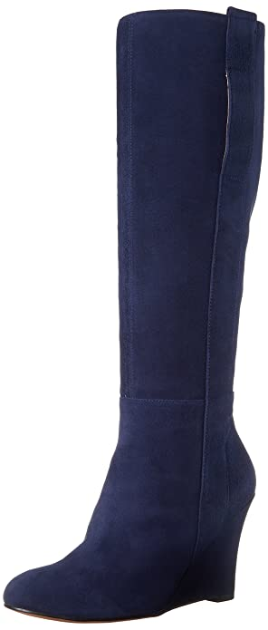 7074c587d5a93 Amazon.com | Nine West Women's Oran Suede Knee High Boot, Navy, 5 M ...