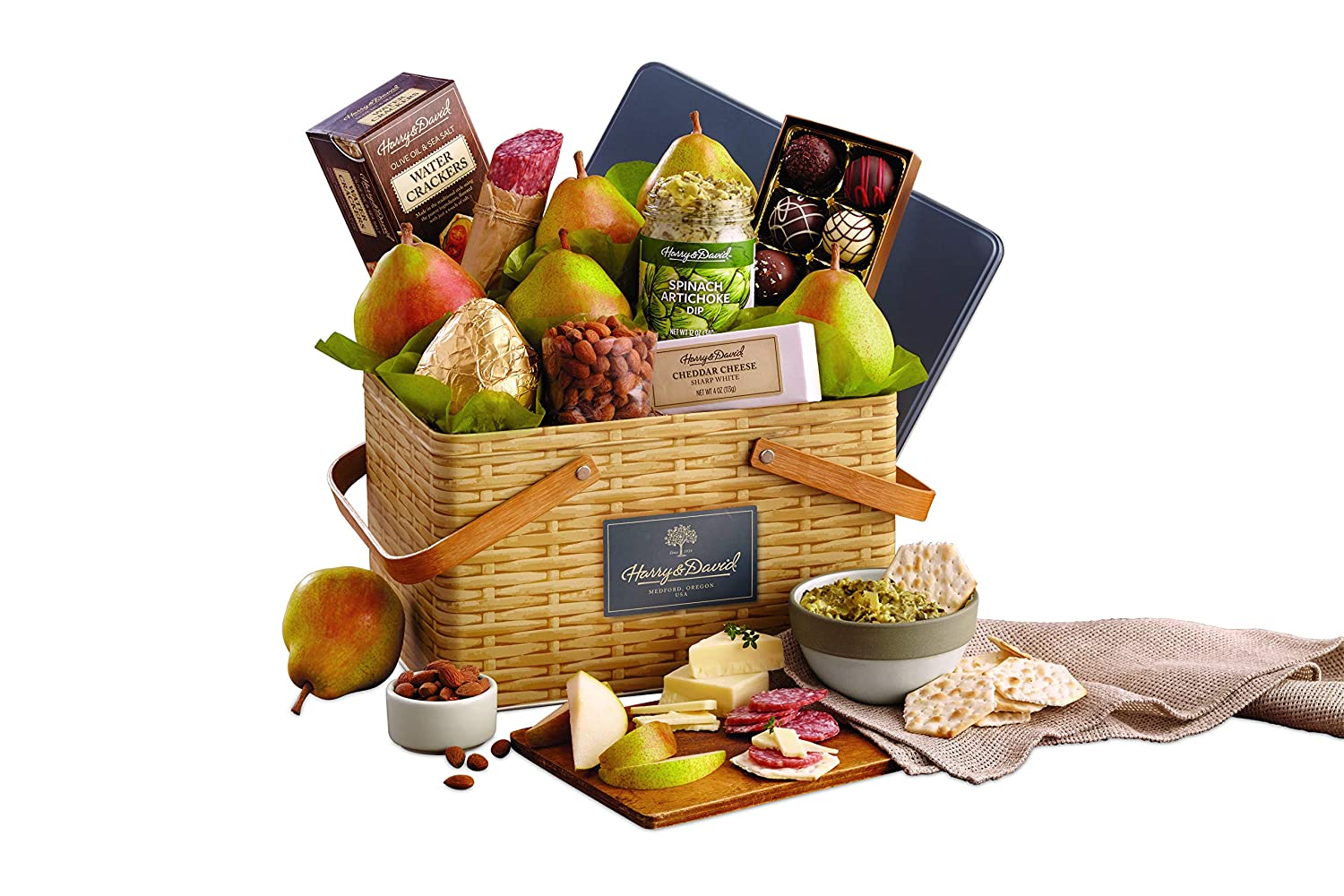 Amazon.com : Harry & David Picnic Basket Pears, Cheese, Nuts, and Chocolate Gift Basket : Grocery & Gourmet Food