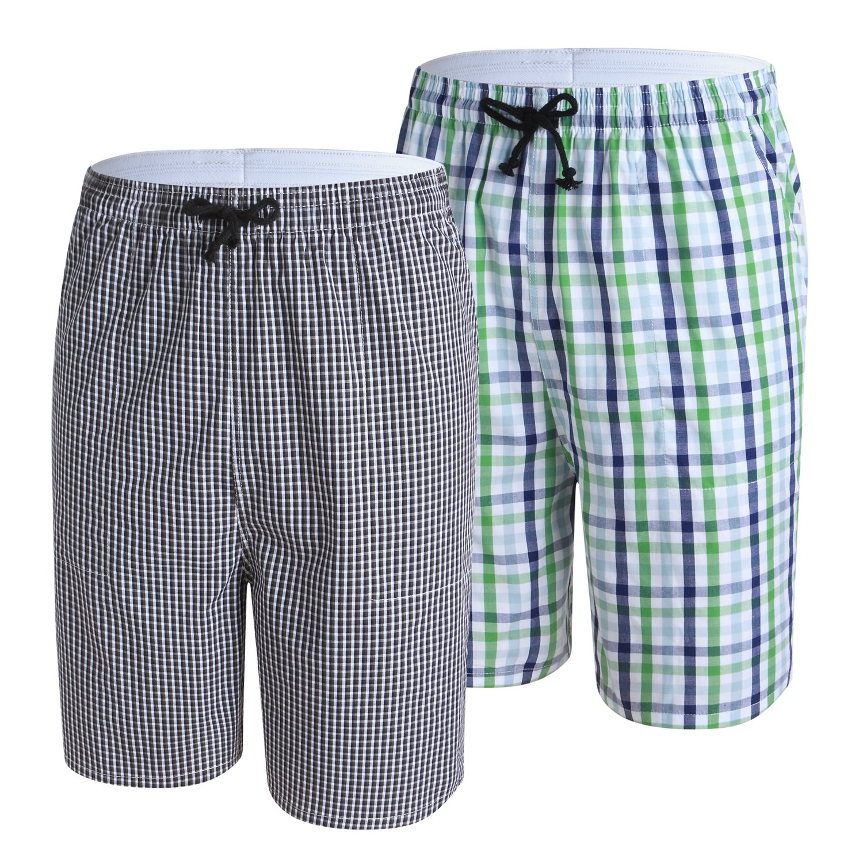 SGNOIEY Men's Sleep Shorts,Cotton Plaid Lounge Pajamas Shorts & Lounge Wear 2-Pack Black+Green M