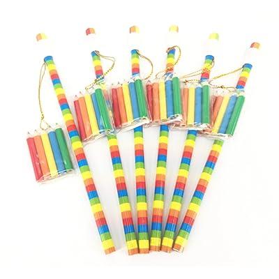 6 x Crayons à Papier Arc-en-Ciel et Mini Etui de Crayons de Couleur. Petits Cadeaux de Valeur
