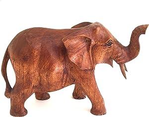 Elephant Statue Solid Wood Hand Carved Lucky Trunk Up Elephant Figurine Home Decor (Medium)