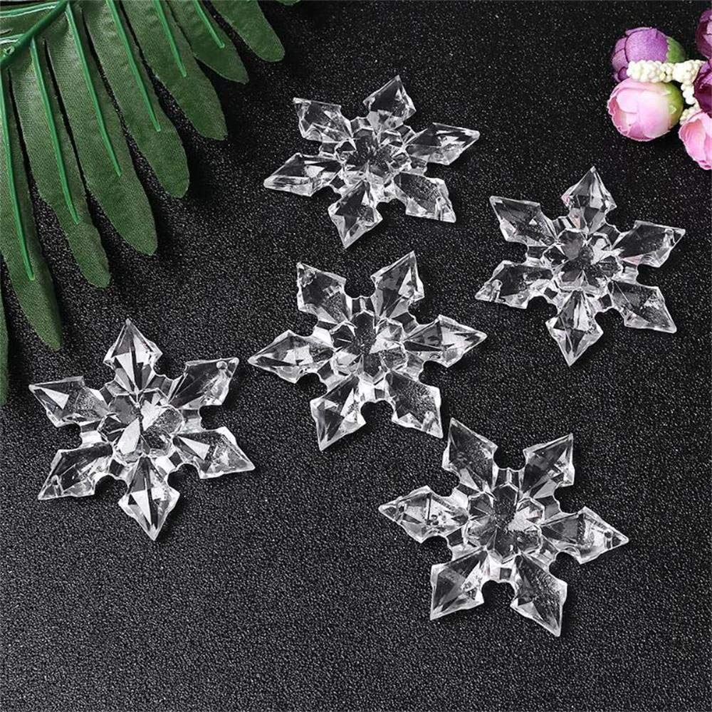 Mome ʕ •ᴥ•ʔ Snowflake Wafer ʕ •ᴥ•ʔ 12pcs/Set Christmas Snowflake Clear Crystal Acrylic Rhinestone Frozen for Xmas Tree Pendant DIY Crafts Decorative Craft Scrapbooking Decor (White)