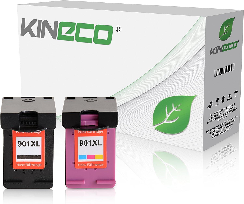 2 Kineco Tintenpatronen Kompatibel Mit Hp 901 Xl 2er Pack Für Officejet 4500 J4580 J4680 Schwarz 20 Ml Color 21 Ml Bürobedarf Schreibwaren