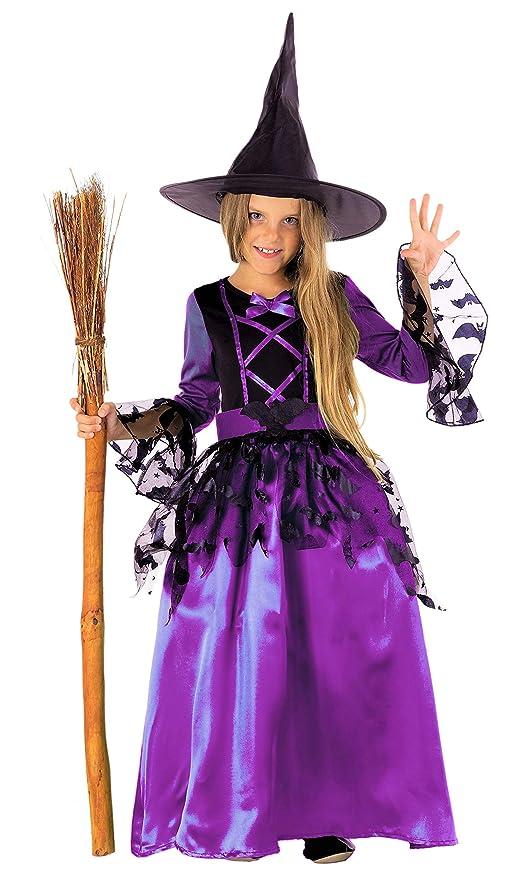 15441f22686a Magicoo bat costume da strega per ragazza bambini Halloween viola e nero -  Costume da bambino