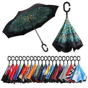bagail doble capa puede paraguas Reverse plegable paraguas resistente al viento UV Protección grande recto paraguas