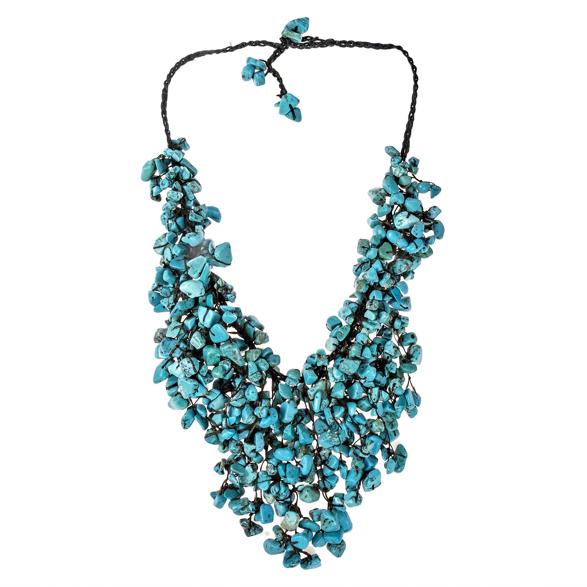 AeraVida Handmade Simulated Turquoise Waterfall On Cotton Wax Rope Bib-Style Statement Toggle Necklace