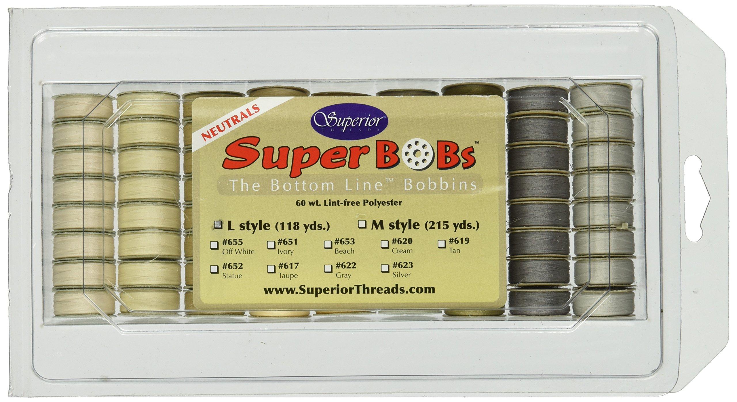 Superior Threads L72NEUTRALS Prewound Neutrals L Style Bobbins Bottomline Thread by Superior Threads
