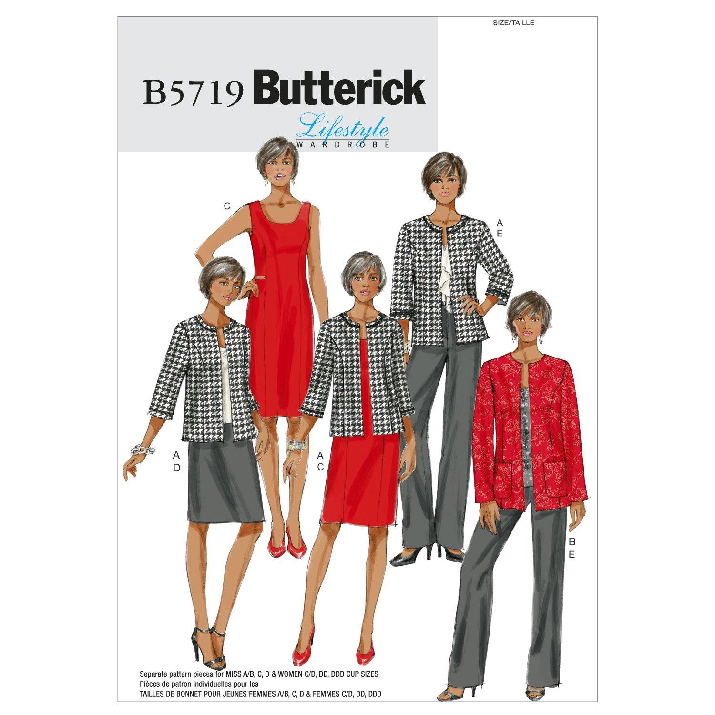 Butterick modelli B5719 Dimensione RR 18W-20W-22W-24W Misses '/ Giacca donna, Abito, gonna e pantaloni, confezione da 1, Bianco B5719RR0