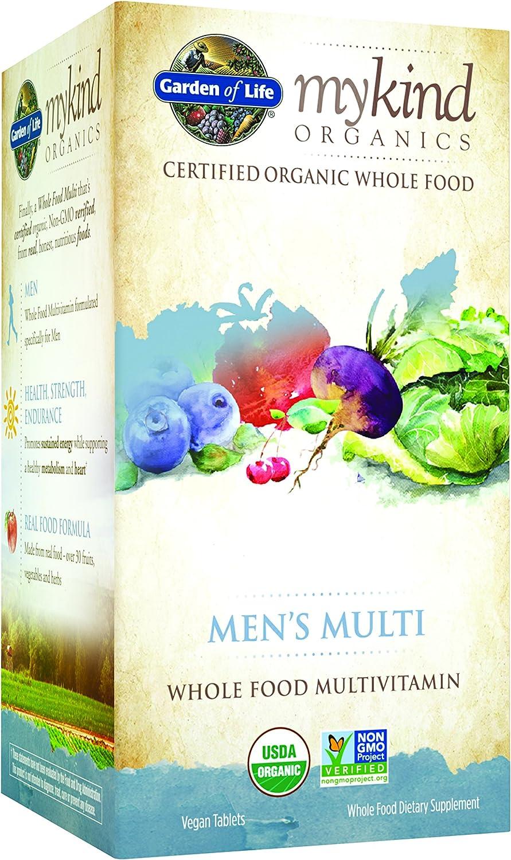 Garden of Life Multivitamin for Men – mykind Organic Men s Whole Food Vitamin Supplement, Vegan, 120 Tablets