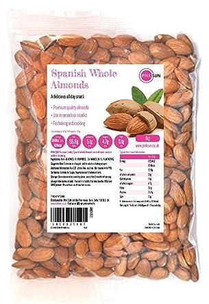PINK SUN Almendras Enteras Crudas 1kg Con Piel Español No tostado Sin Sal Natural Pieles 1000g