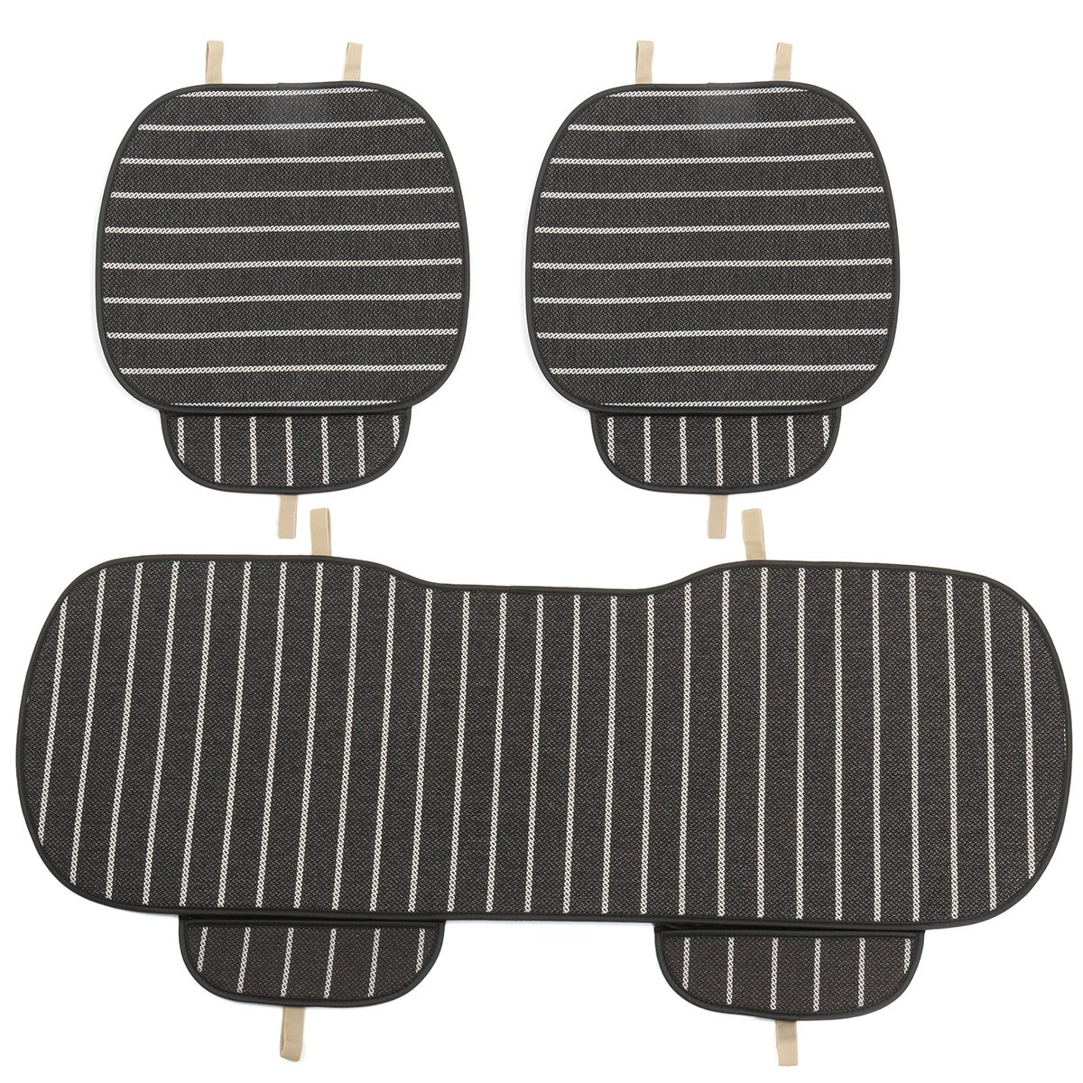 HITSAN 3Pcs Car Seat Cover 5-Seats Breathable Linen Fabric Pad Mat For Auto Chair Cushion One Piece