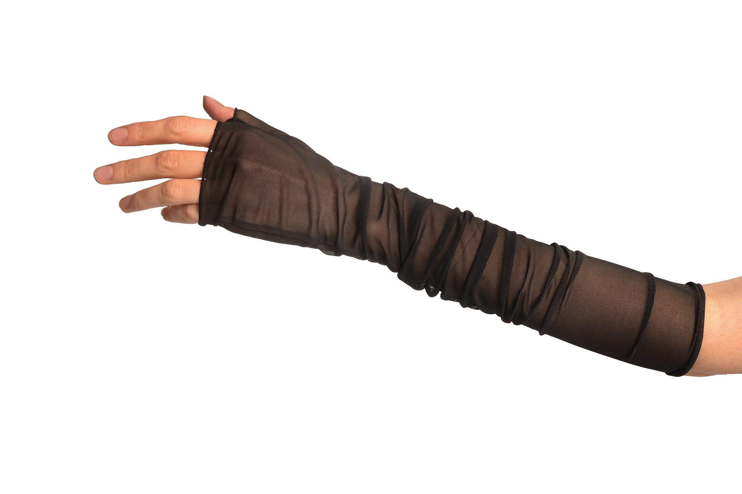 Black Fine Mesh Ballet/Dance Elbow Fingerless Gloves - Gloves by LissKiss (Image #2)