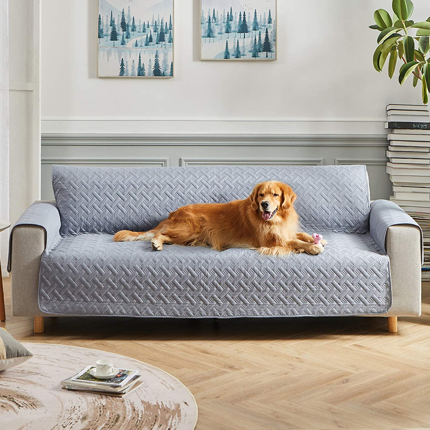 WESTERN HOME WH Waterproof Sofa Slipcover, Pet Furniture Cover Sofa Pet Cover Washable Couch Cover for 3 Cushion with Non Slip Bottom for Kids Pets Dog Cat(Sofa,Gray)