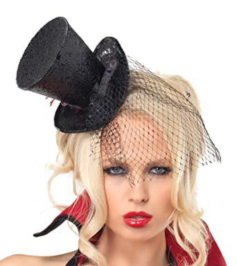 UHC Adult Women s Mini Top Hat Glitter w  Veil Halloween Costume Accessory  (Black) b6df7514238