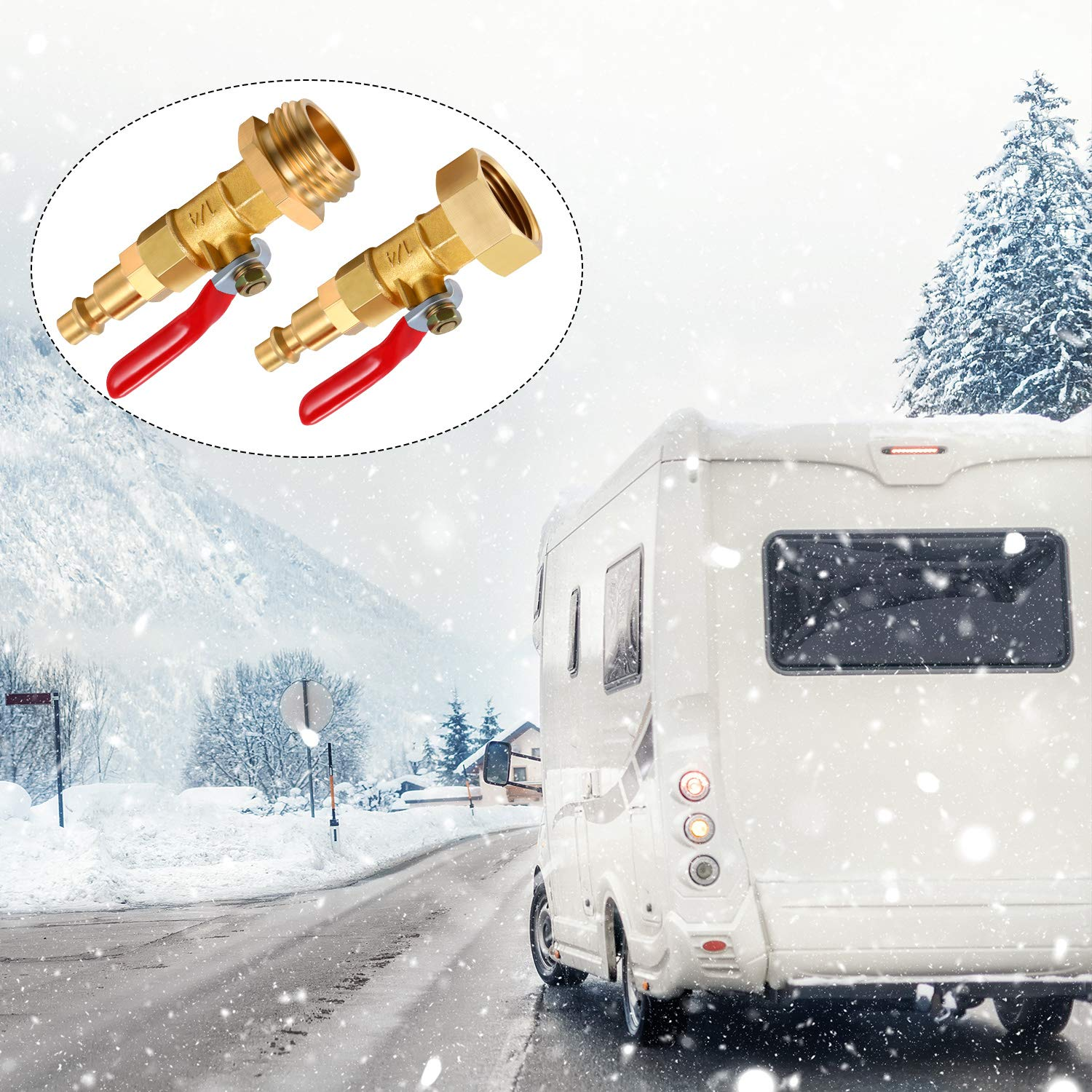 Winterize Blowout Adapter with 1//4 Inch Male Quick Plug and 3//4 Inch Female Garden Hose Threading Brass Quick Adapter with Ball Valve for Blowing Out Water to Winterize Garden Hose Sprinkler System