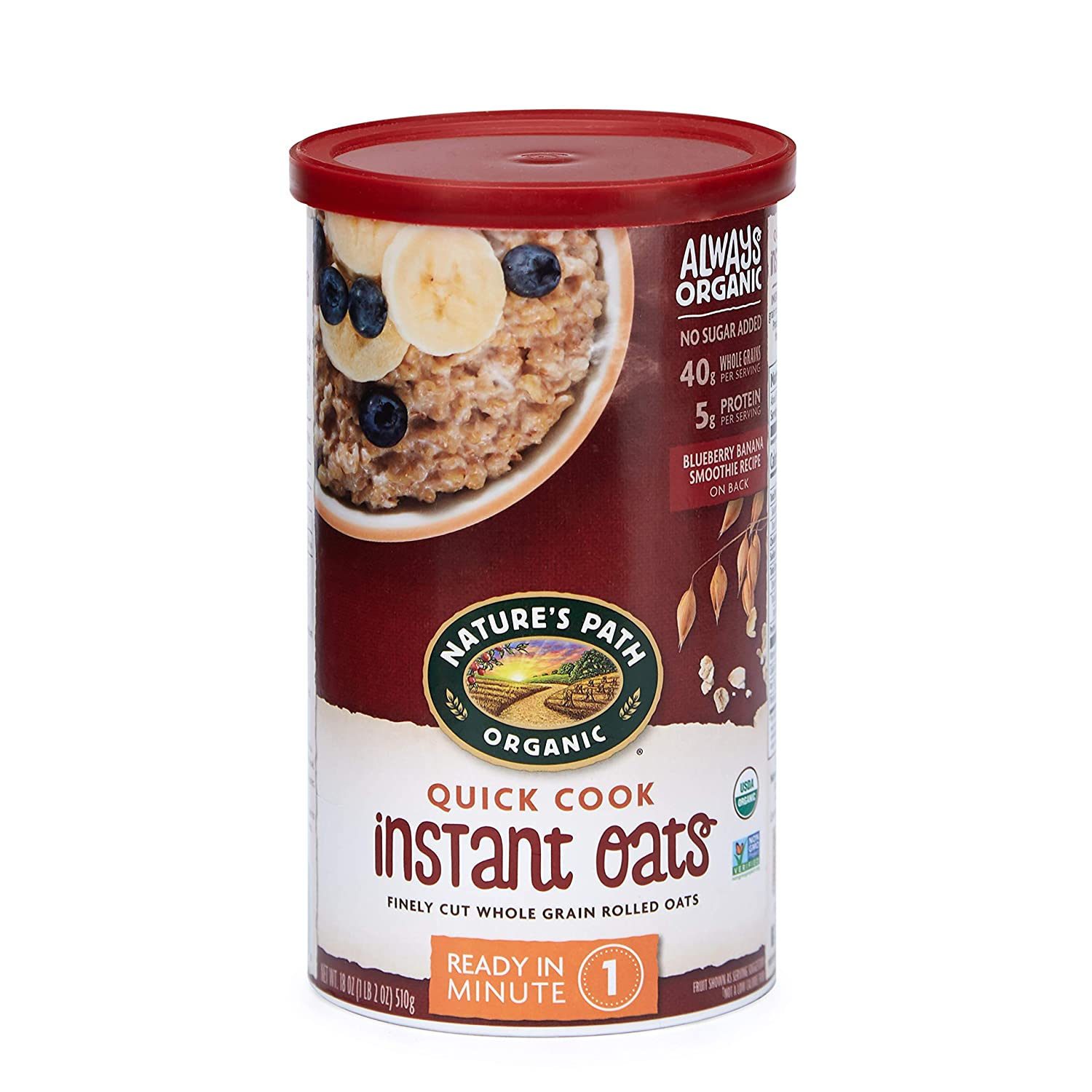 Nature's Path Instant Oats, Healthy, Organic & Sugar Free, 1 Canister, 18 Ounces (Pack of 6)